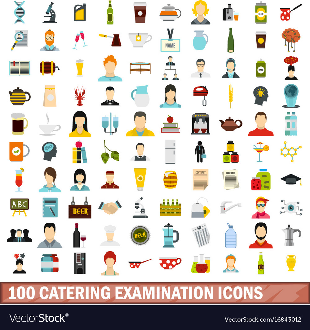 100 catering examination icons set flat style