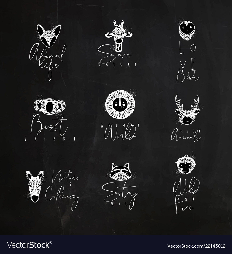 Animals authentic graphic signs chalk