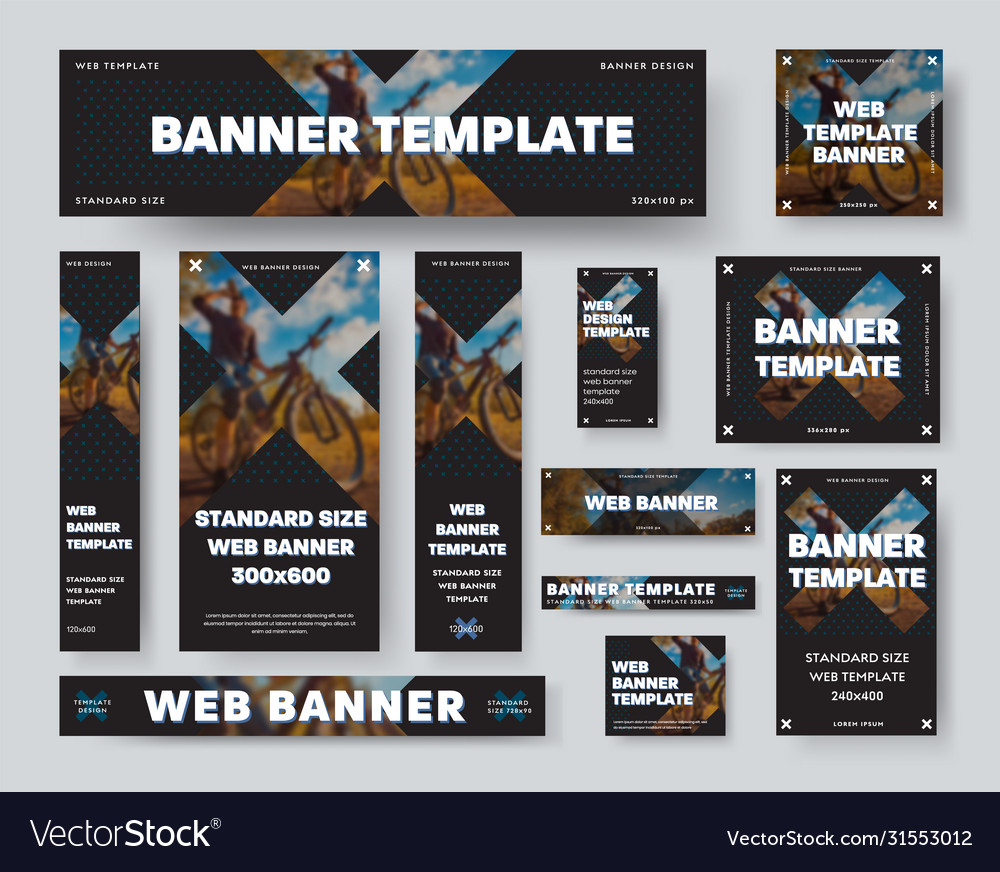 Black web banner template with cross and blurry