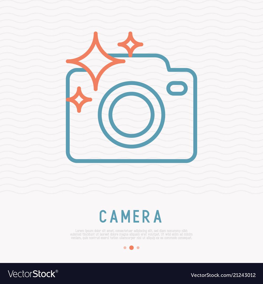 Camera thin line icon for photographer logo