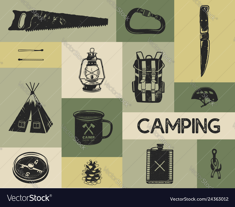 Camping icons set in silhouette retro style