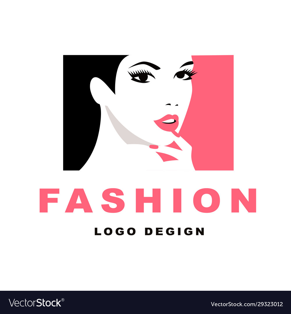 Fashion girl with black hair logo