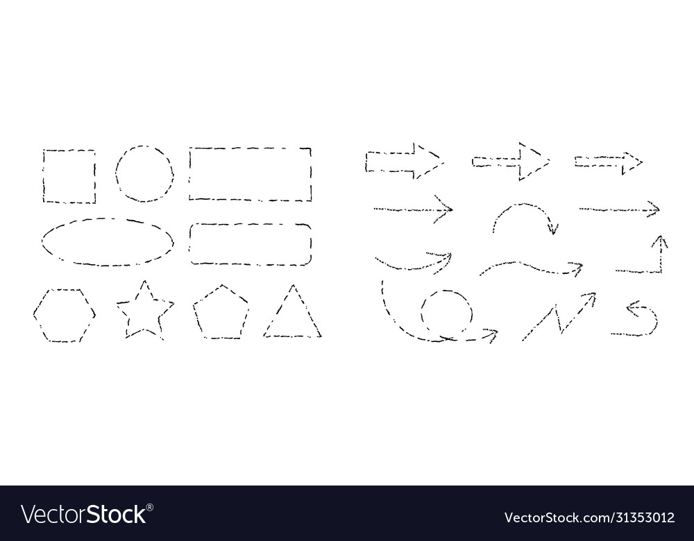 Geometric shapes hand drawing graphic style line