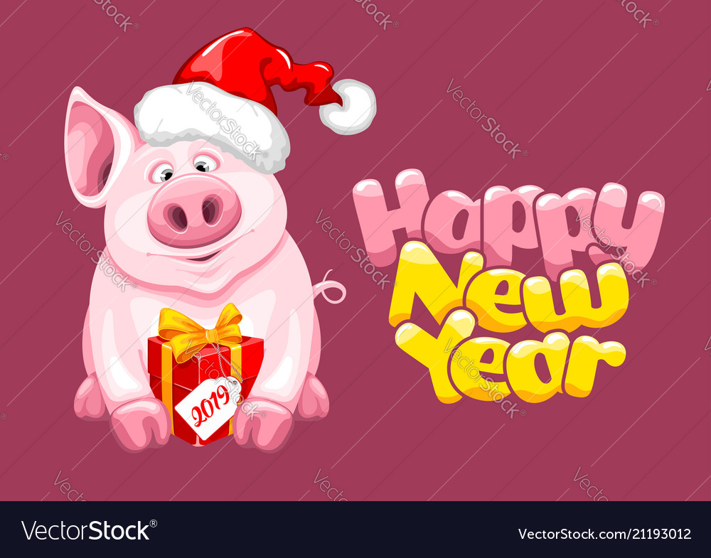 63686af2a6071 Greeting new year design with cartoon piggy Vector Image