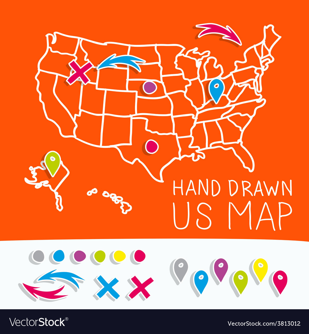 hand drawn us map whith map pins royalty free vector image
