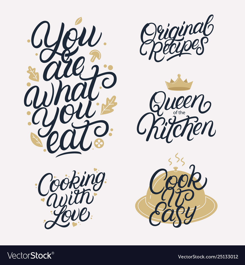 Kitchen related lettering calligraphy set