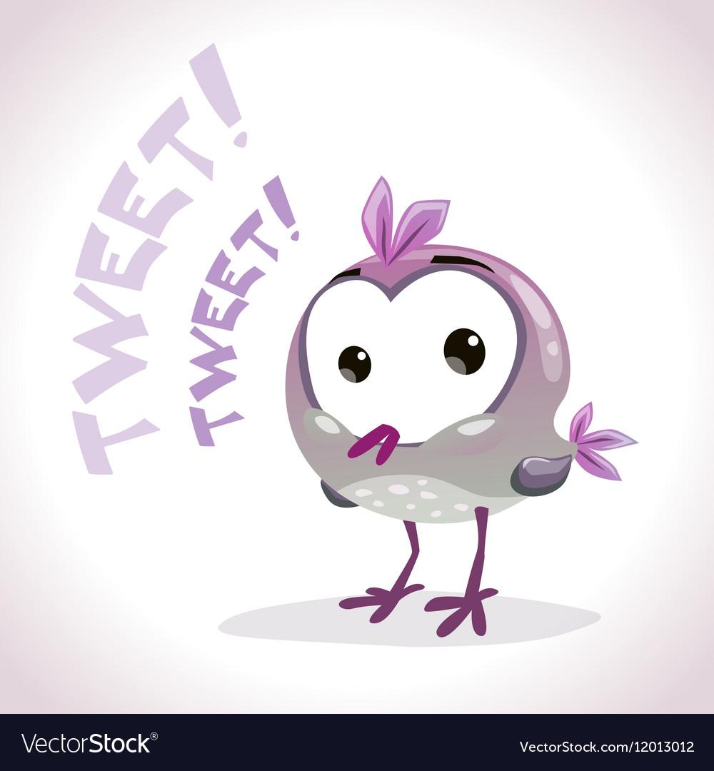 Little comic tweetting bird
