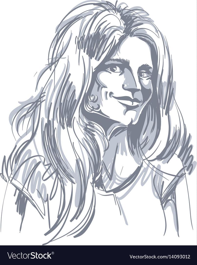 Monochrome hand-drawn image flirting young woman