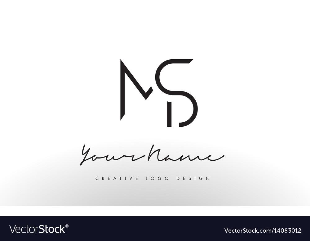 Ms letters logo design slim creative simple black vector image