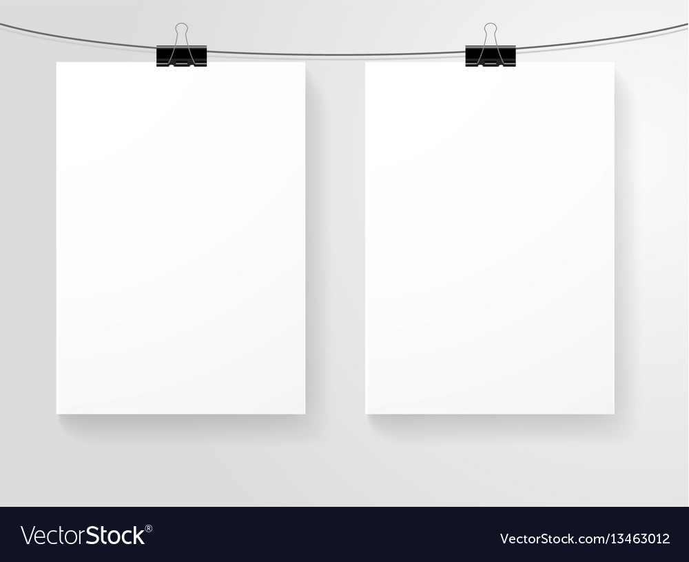 Paper blank sheets isolated hanging on