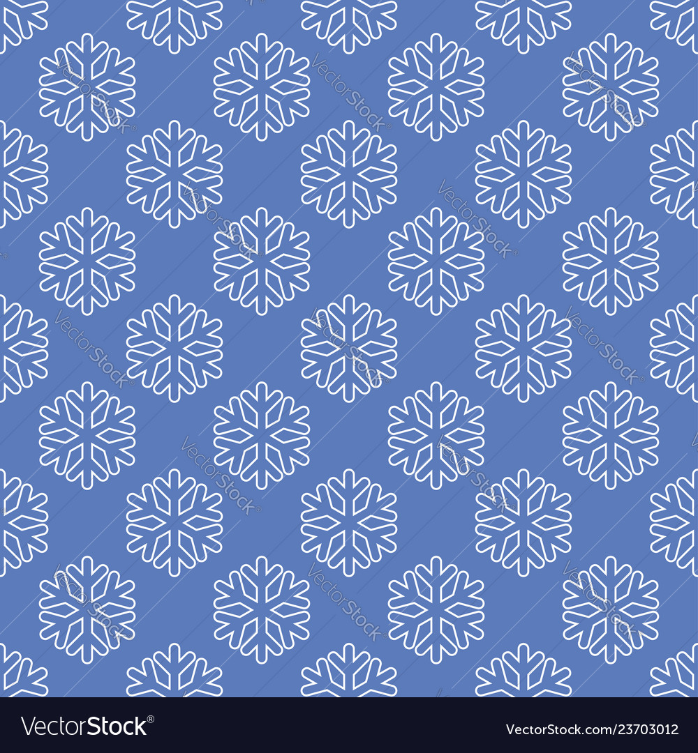 Seamless art pattern with snowflakes on blue