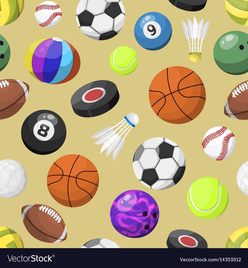 Sport Balls Seamless Pattern Background Vector Image