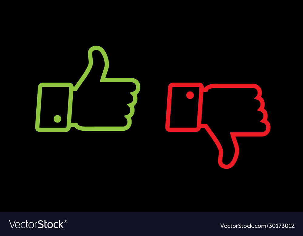 Thumb up and thumb down line icons