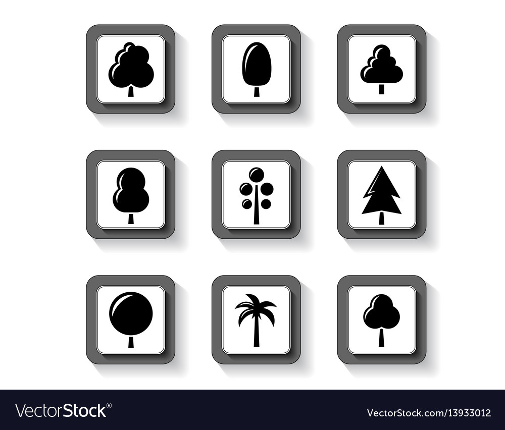 Trees on buttons set