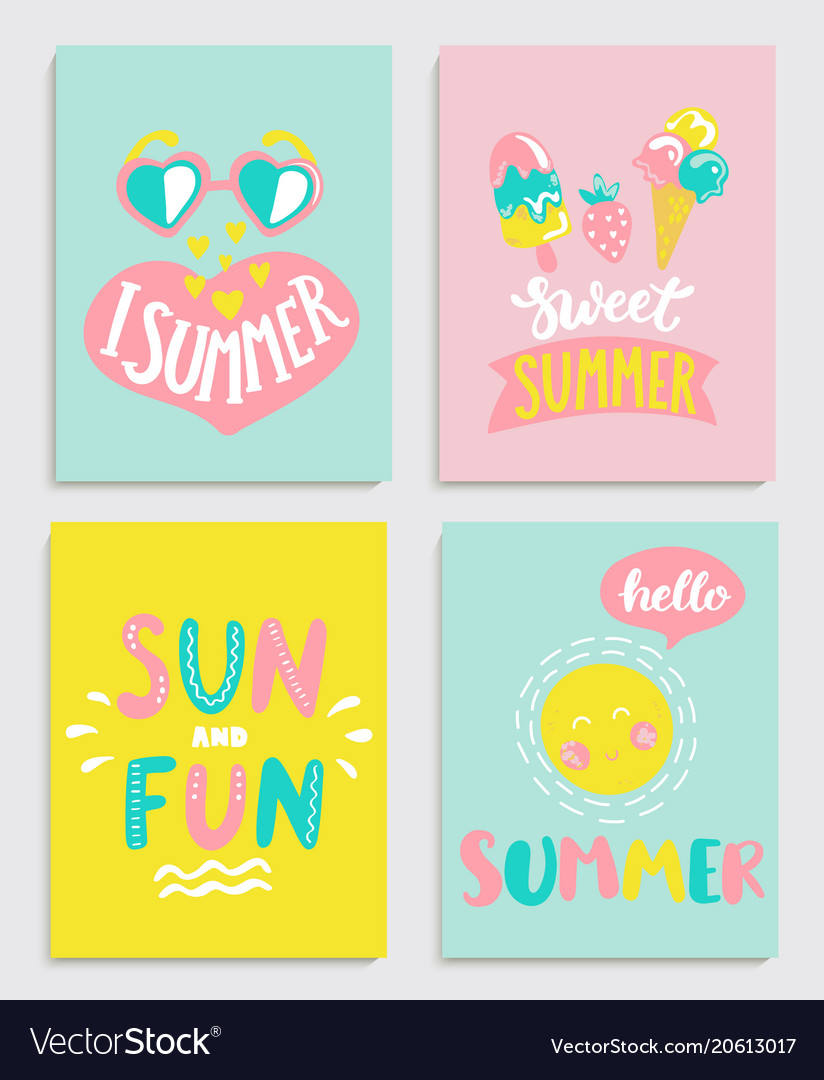 Beautiful set of bright summer cards