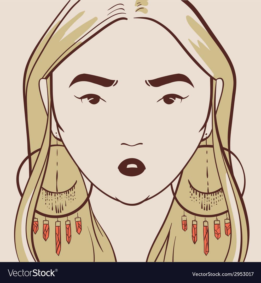 Beautiful woman with long hair hand drawn vector image