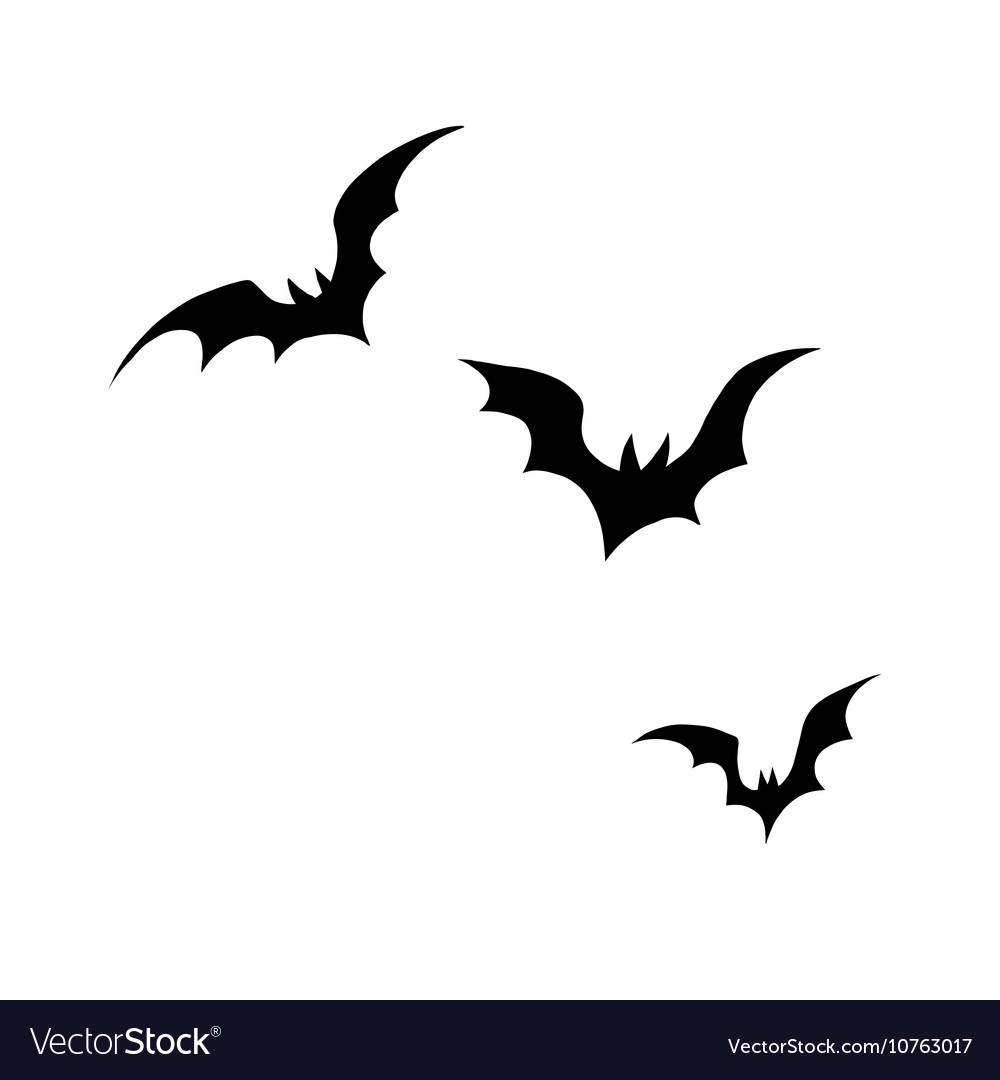 Black Silhouettes Bats On A White Background Vector Image