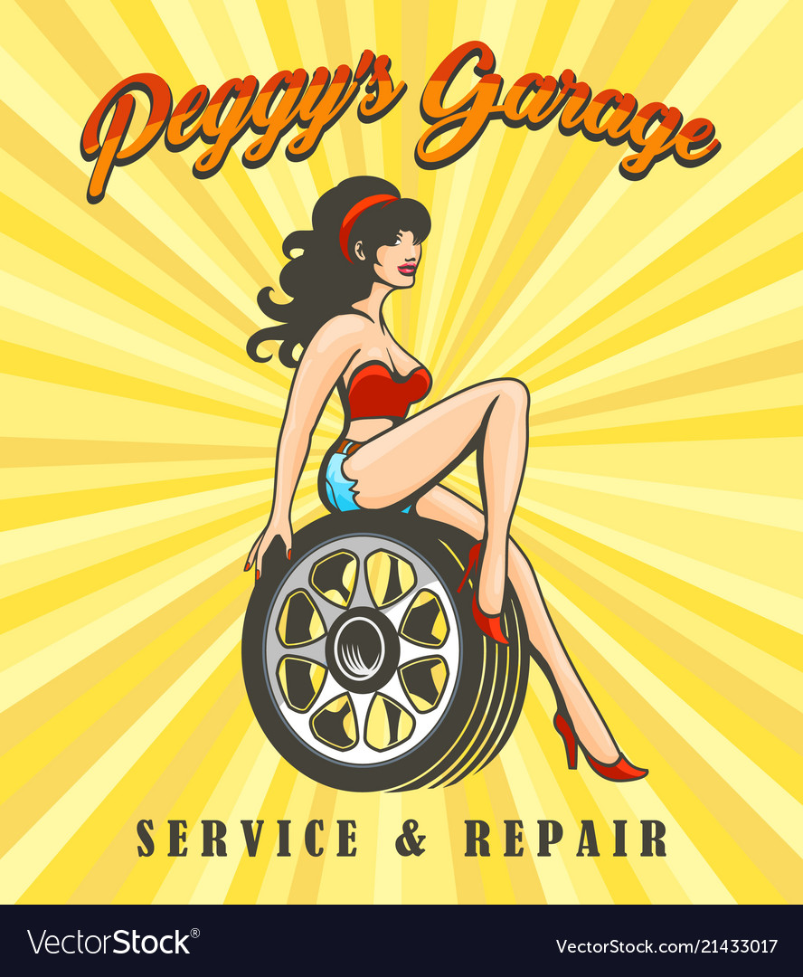 Car service poster with biker girl