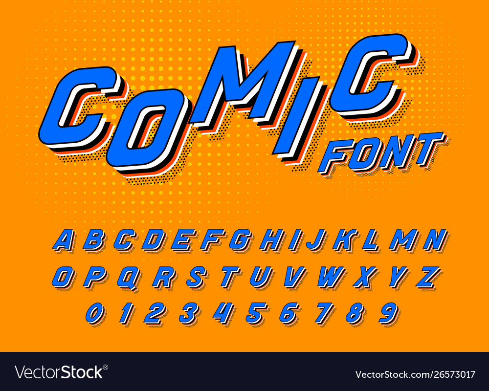 Comic font for posters pop art retro game