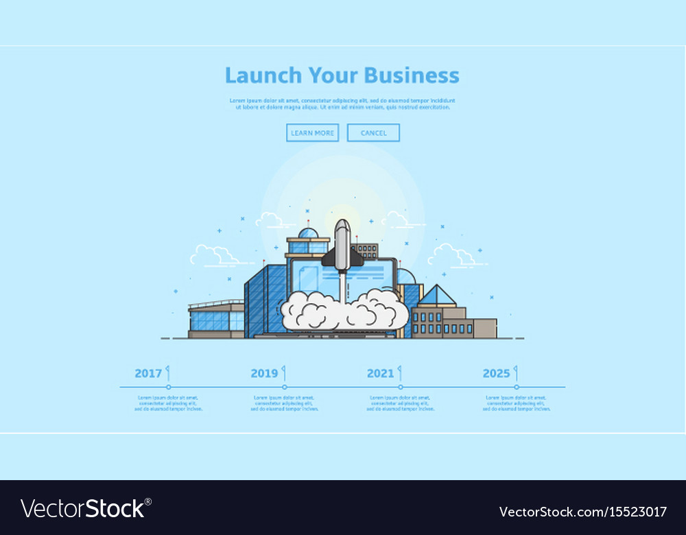 Concept of web banner with launch rocket