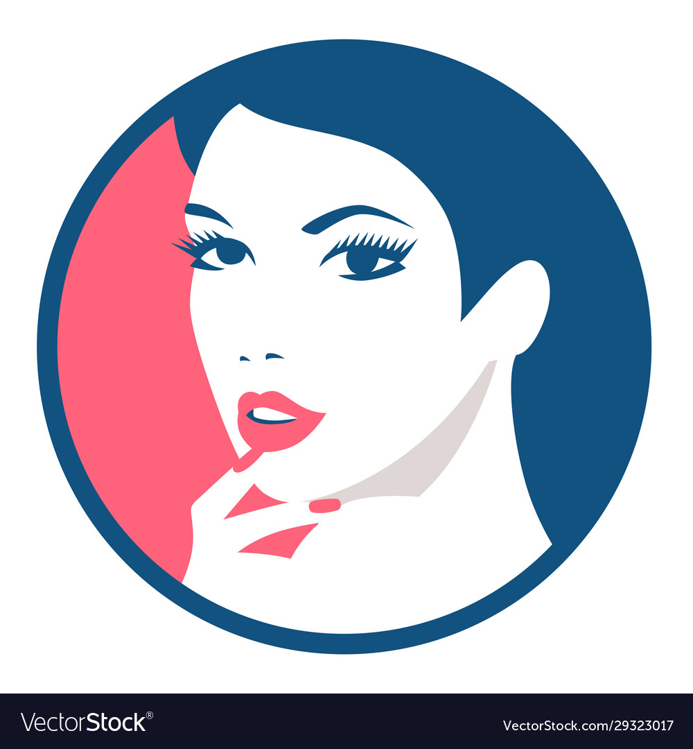 Fashion girl round avatar beautiful face