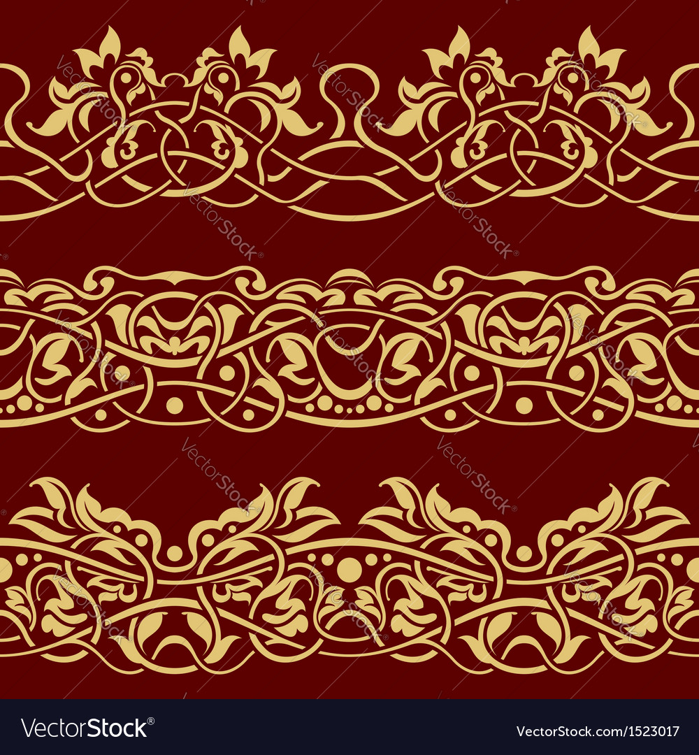 Gold floral seamless border design element vector image