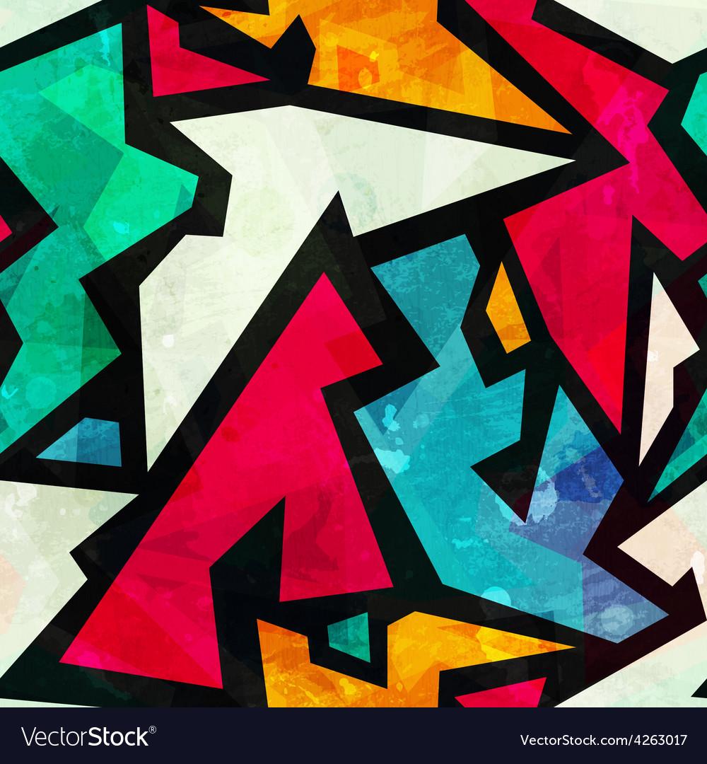 Graffiti geometric seamless pattern with grunge