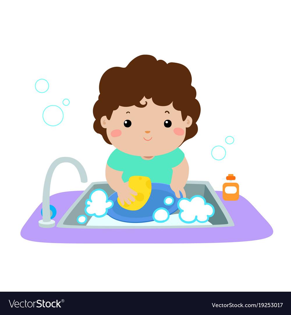 Happy boy washing dish on white background