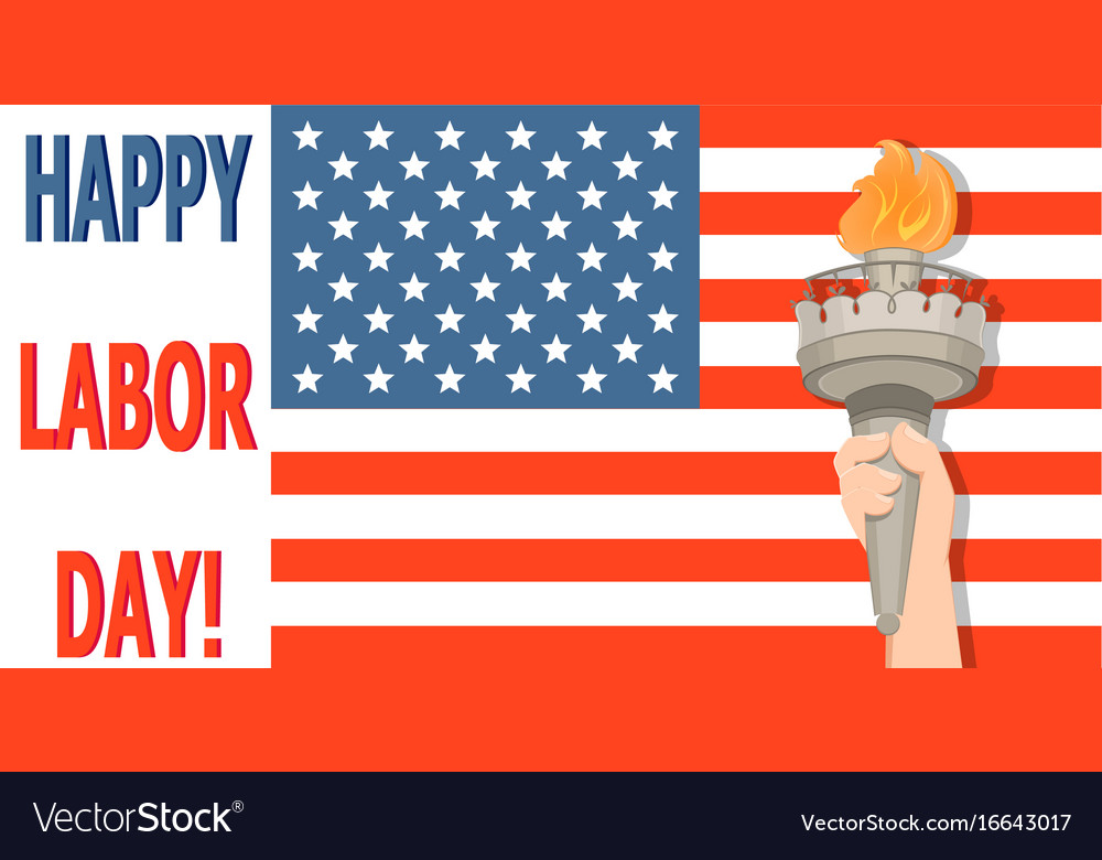 Labor day greeting card with usa flag and statue