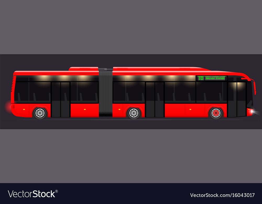 Large articulated bus red with modern design