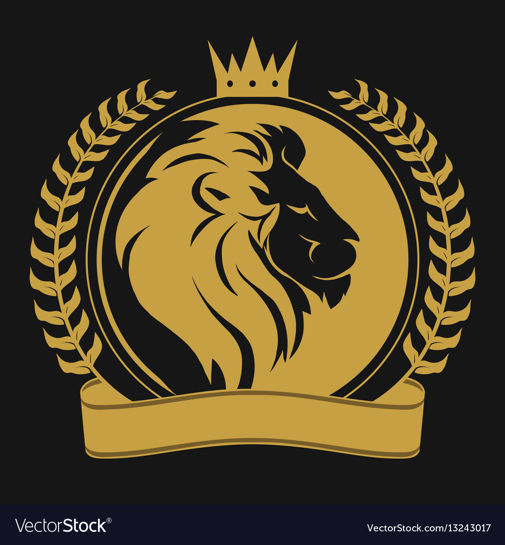 Lion head with crown logo Royalty Free Vector Image