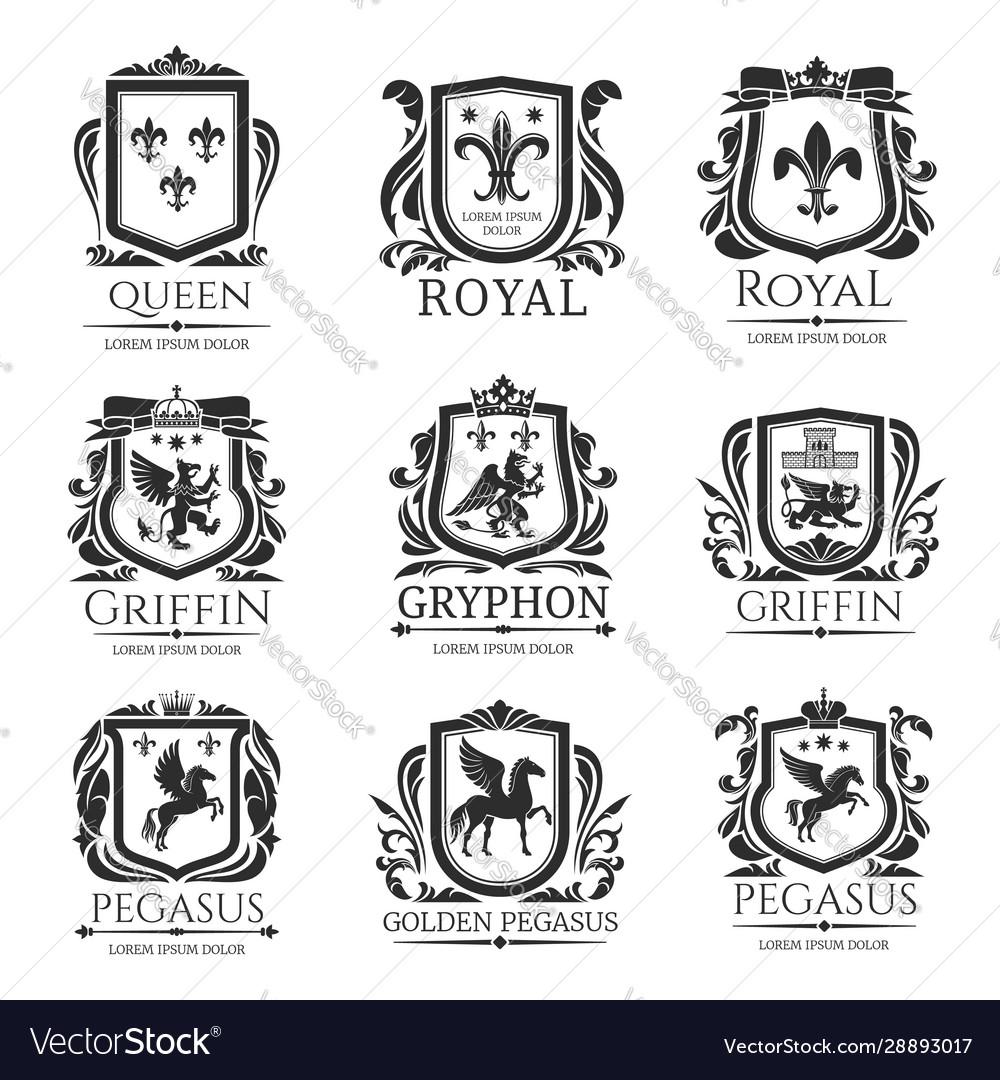 Royal heraldry emblems heraldic animals icons