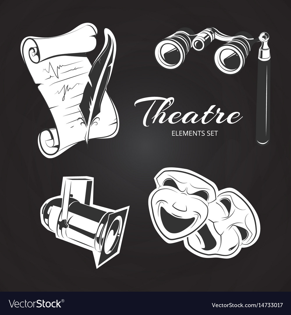 Theatre symbols set on chalkboard