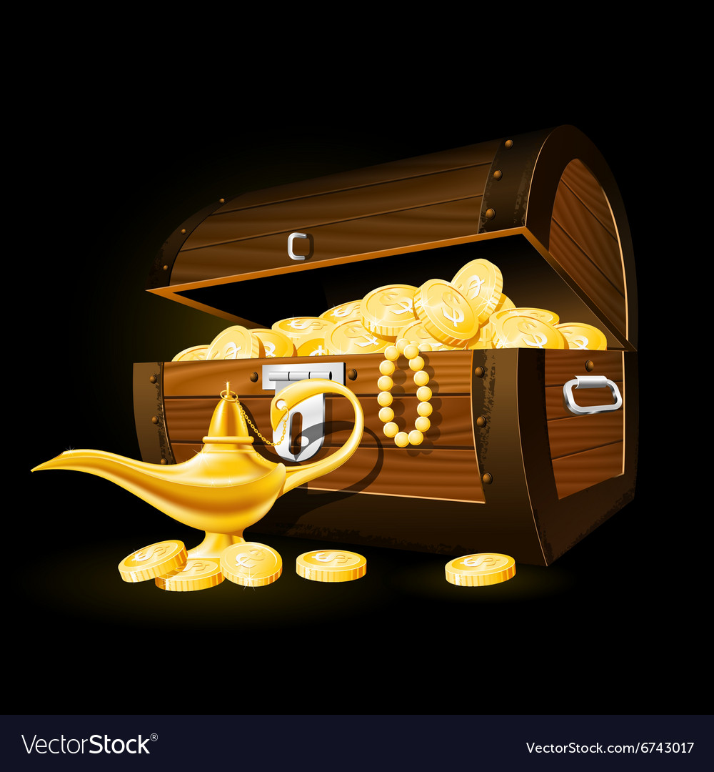 Treasure chest of coins and Aladdins magic lamp vector image
