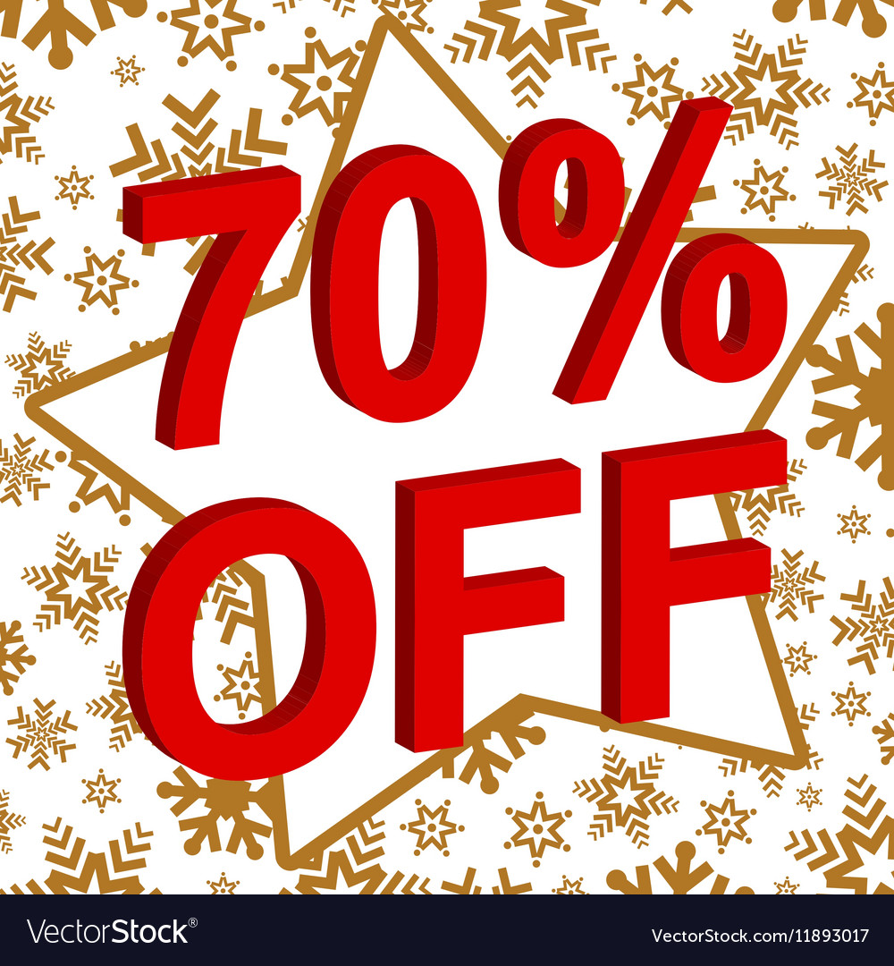 Winter sale poster with 70 PERCENT OFF text