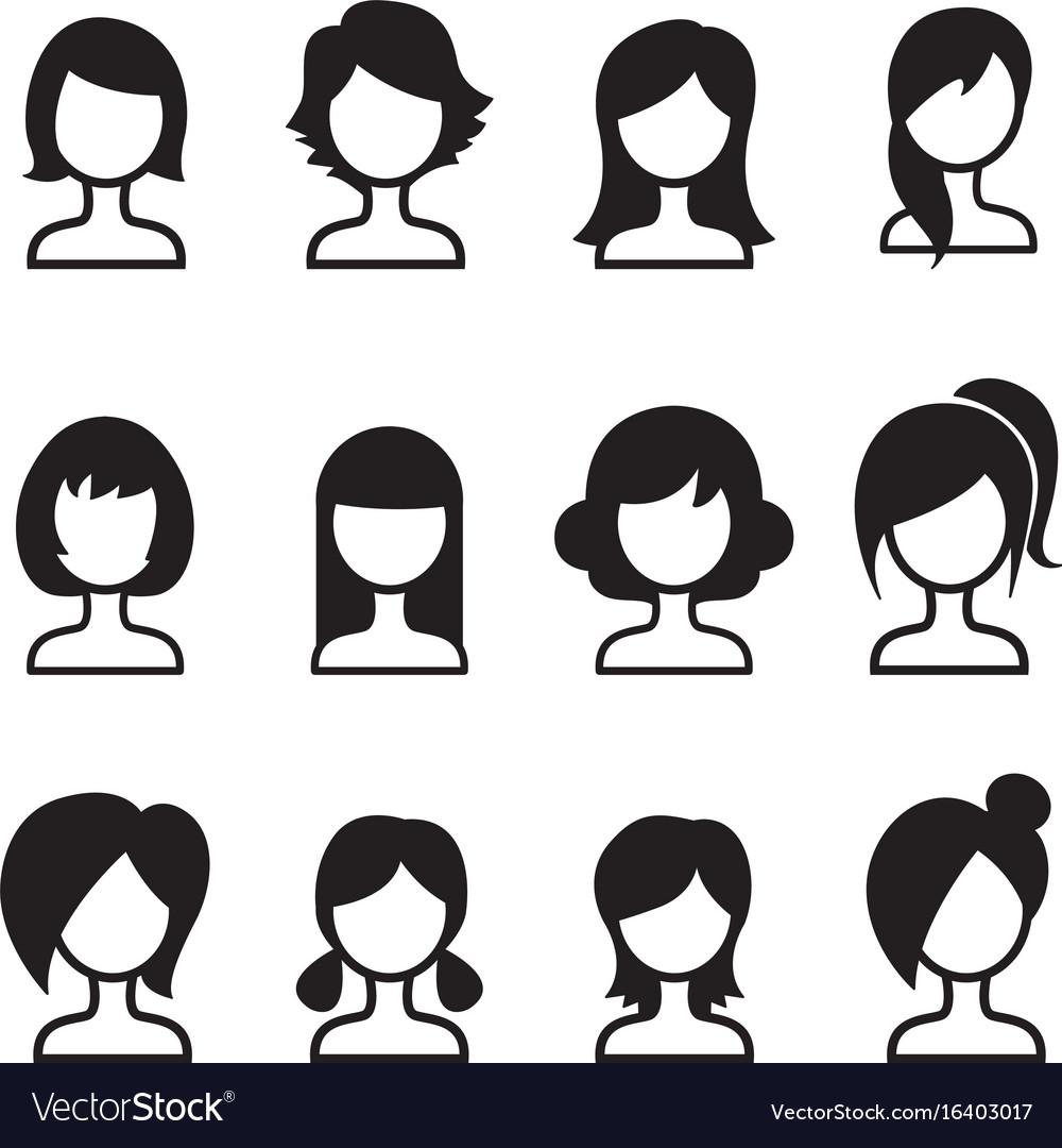 Woman Hair Style Icon Set