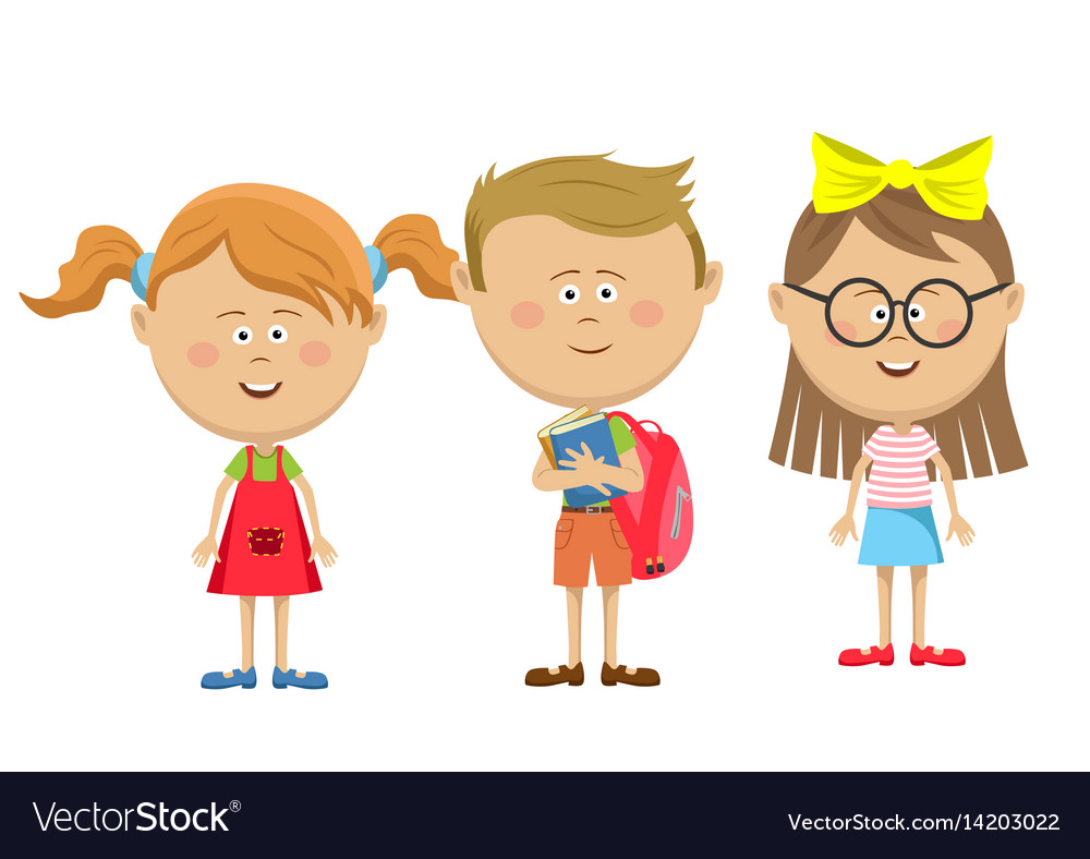 Back to school friends girls with boy standing