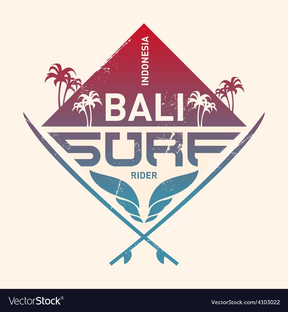 Bali surf rider Indonesia Surfing vintage label