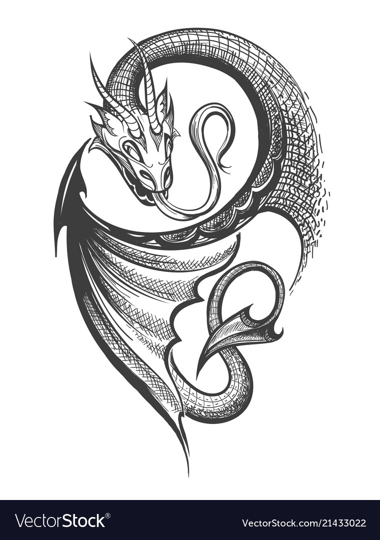 Dragon Tattoo In Engraving Style