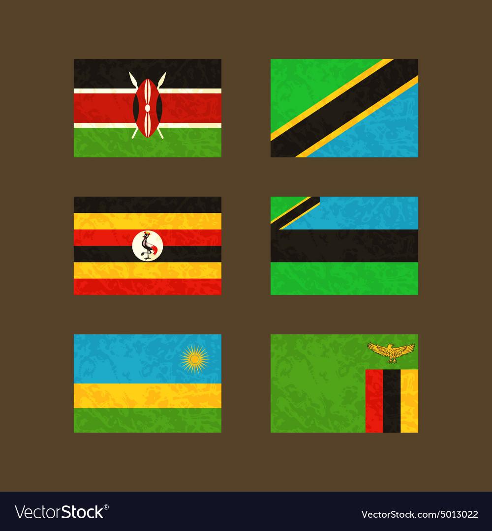 Flags of Kenya Tanzania Uganda Zanzibar Rwanda