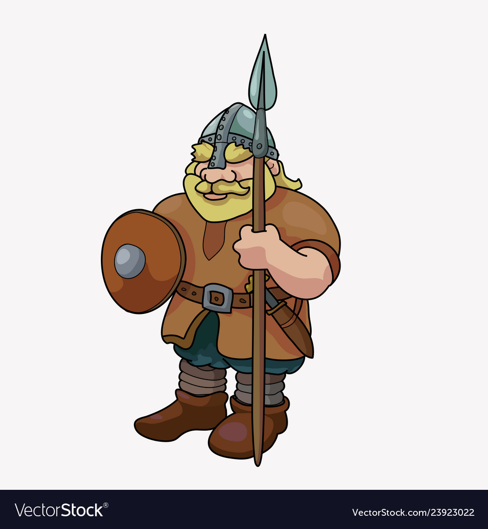 Funny Barbarian Viking Blond With Spear Royalty Free Vector