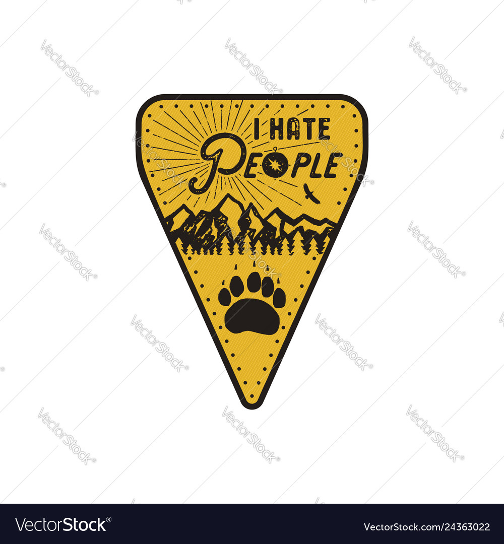 Hand drawn travel badge - i hate people quote