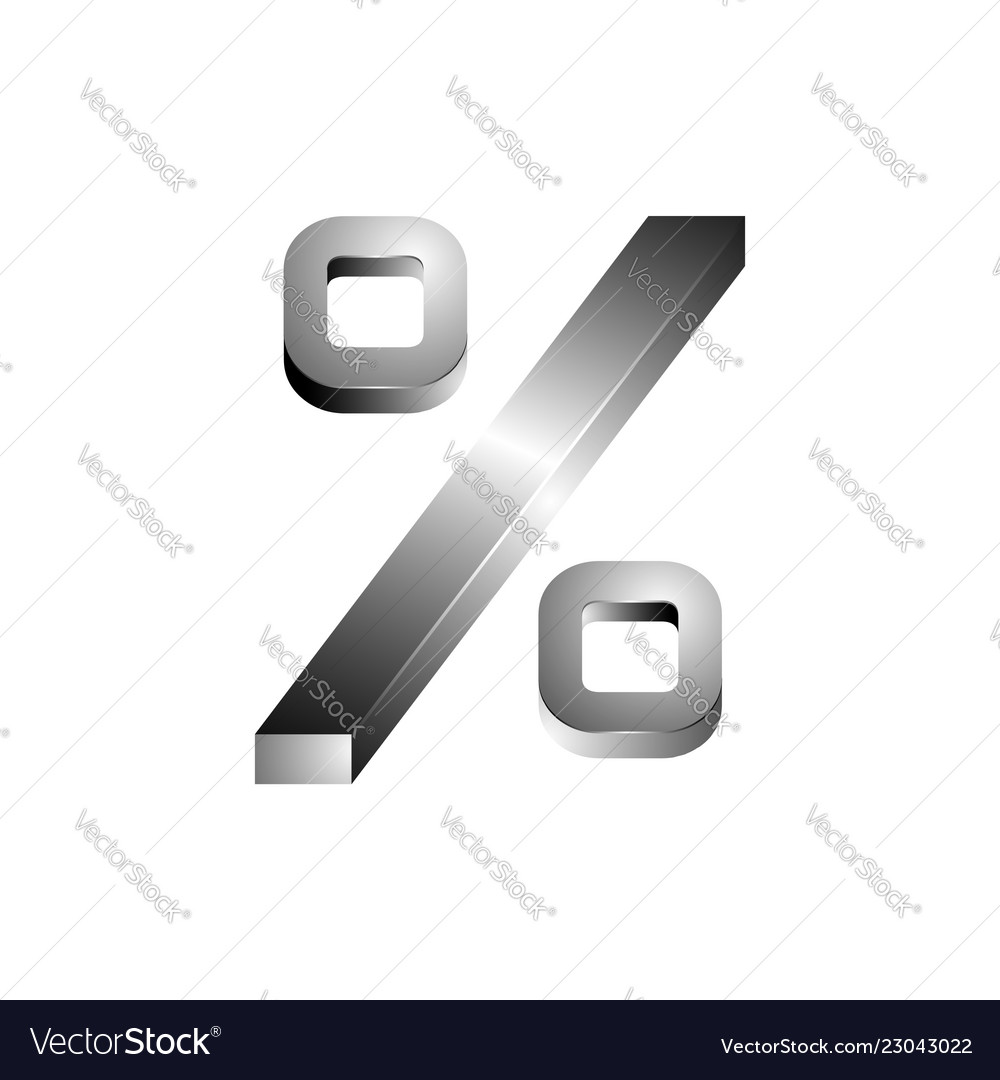 High detailed 3d font percentage character