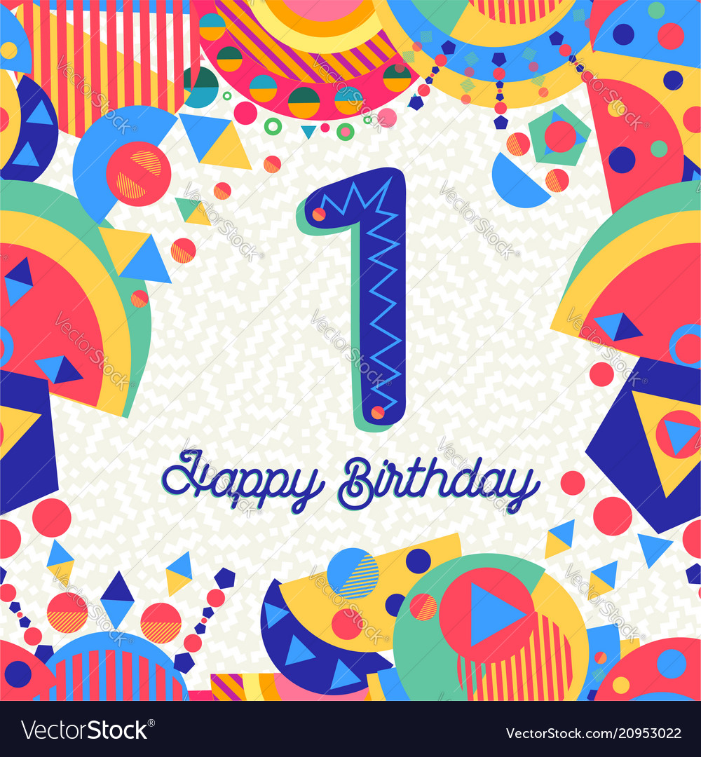 One 1 year birthday party greeting card number