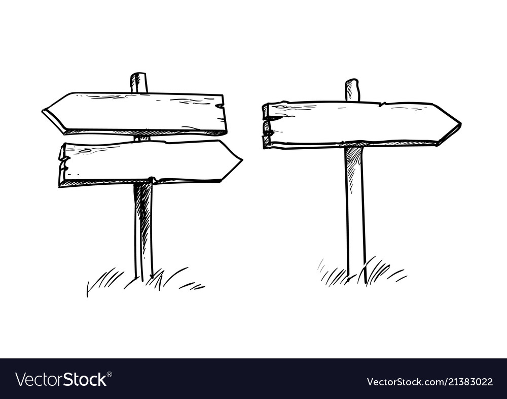 Set of old wooden direction signs in sketch slyle