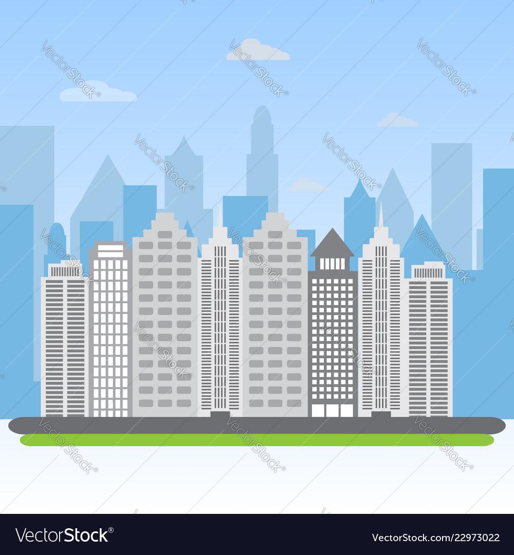 Urban landscape city buildings silhouette