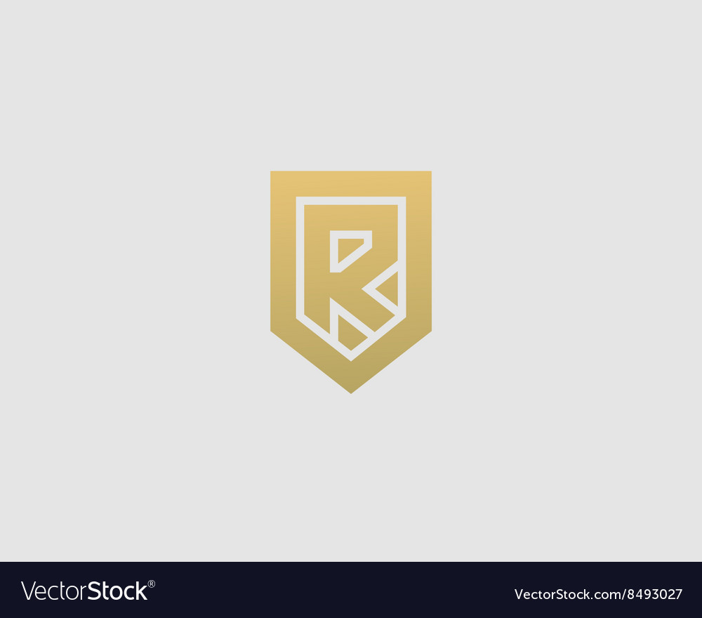 Abstract letter R shield logo design template Vector Image