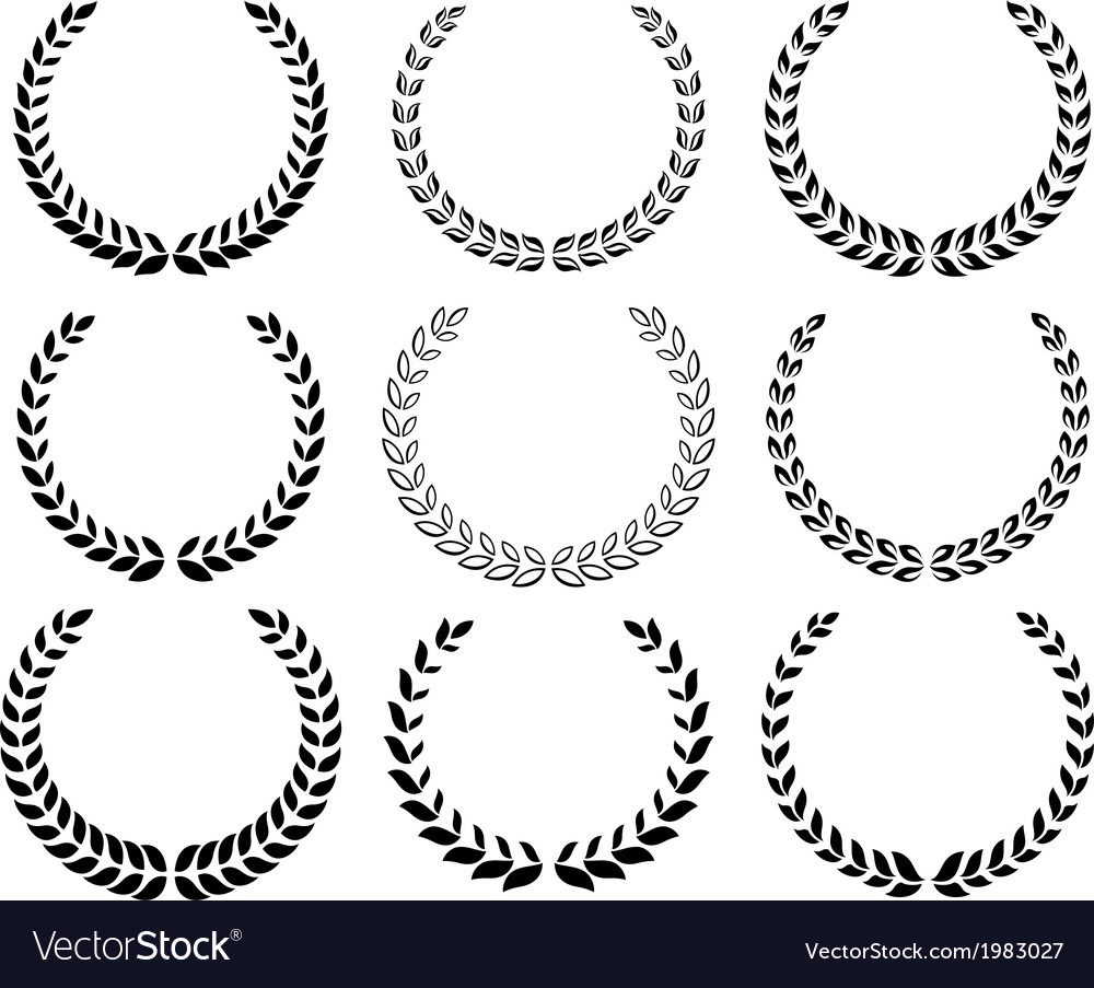 Black laurel wreaths set
