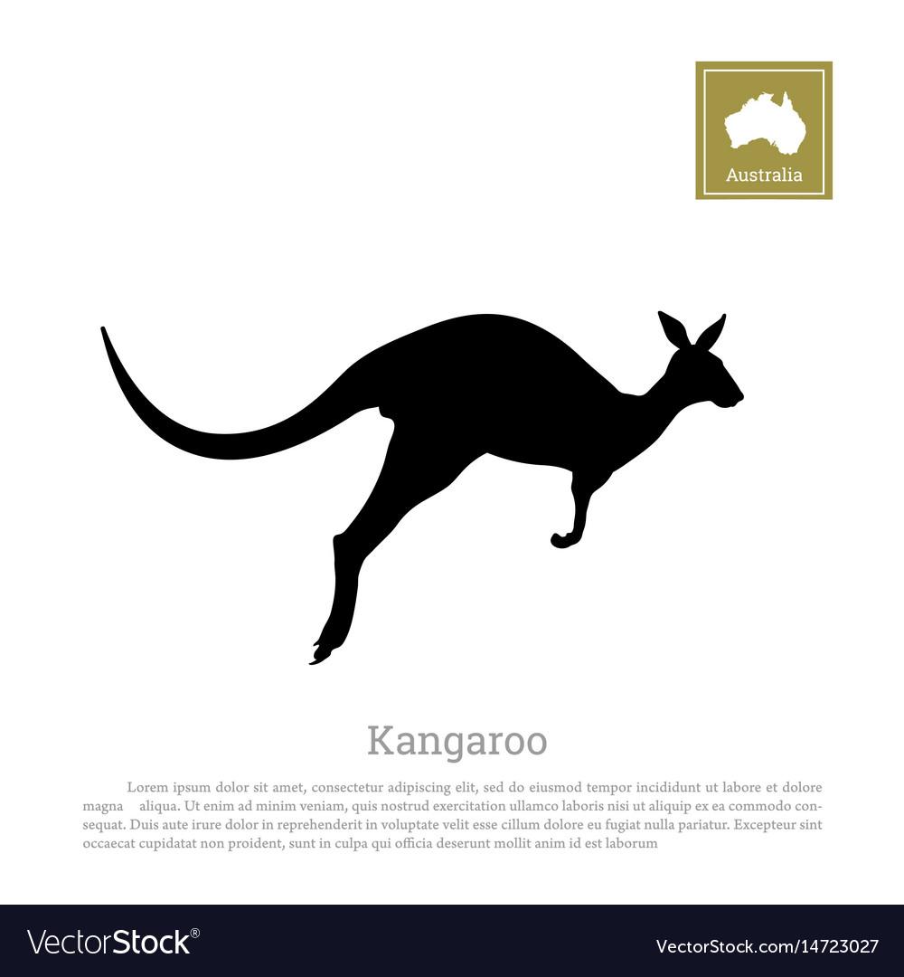 Black silhouette of jumping kangaroo
