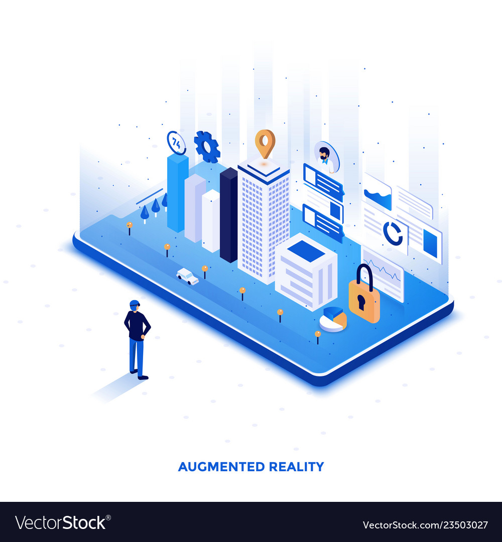 Flat color modern isometric design - augmented